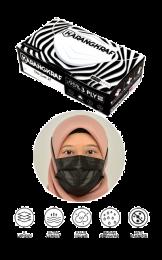 Surgical Face Mask Karangkraf Earloop [30 Helai] - Hitam + 6 Hygiene Case
